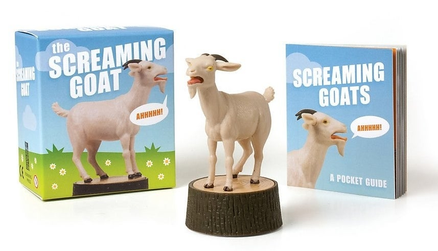 A box with a screaming goat, a screaming goat figurine, and a pocket guide to screaming goats