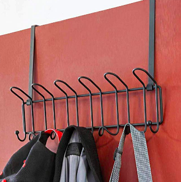 Over-the-door hook rack with jackets and bags