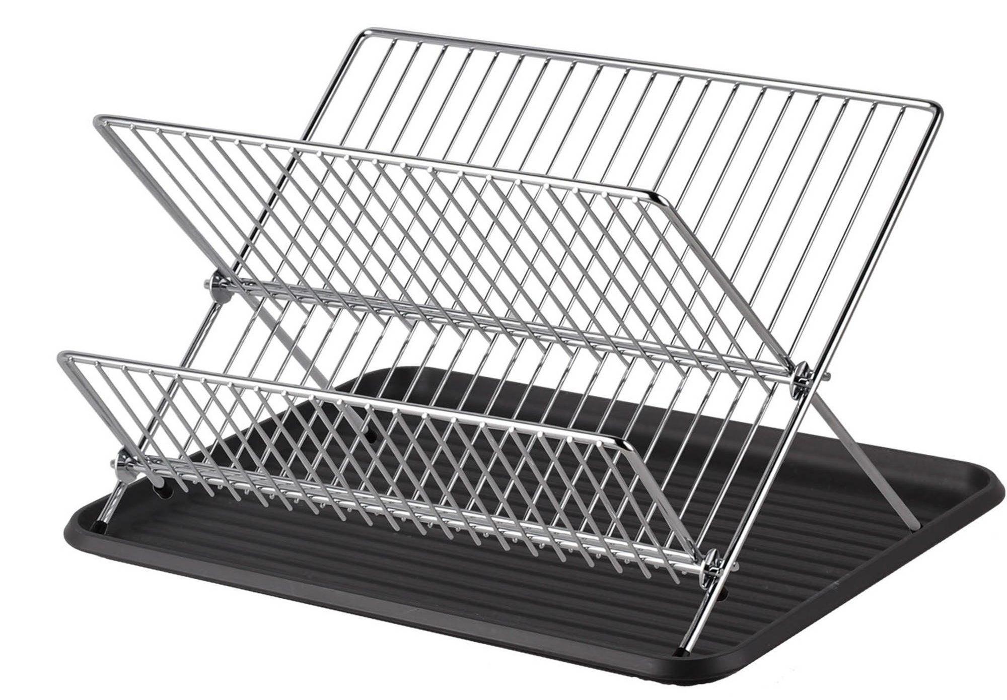 A folding dish rack set