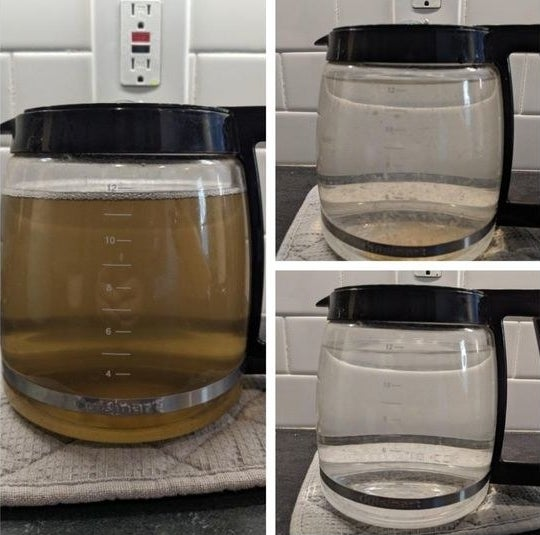 Reviewer's picture of their coffee pot filled with dirty water and then totally clean