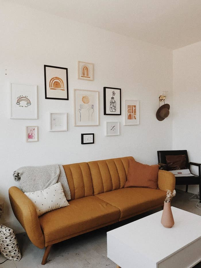 The mustard color futon