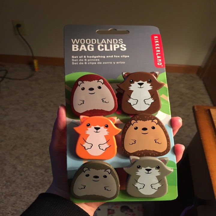 Reviewer holding the pack of six clips: three hedgehogs and three foxes in different colors