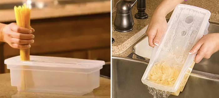 A rectangular transparent holder for pasta with water in it getting set and strained out