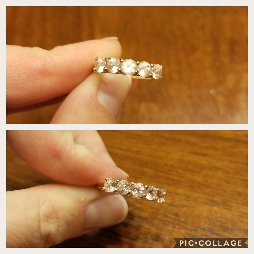 Before and after of a cloudy diamond ring and a clear clean ring