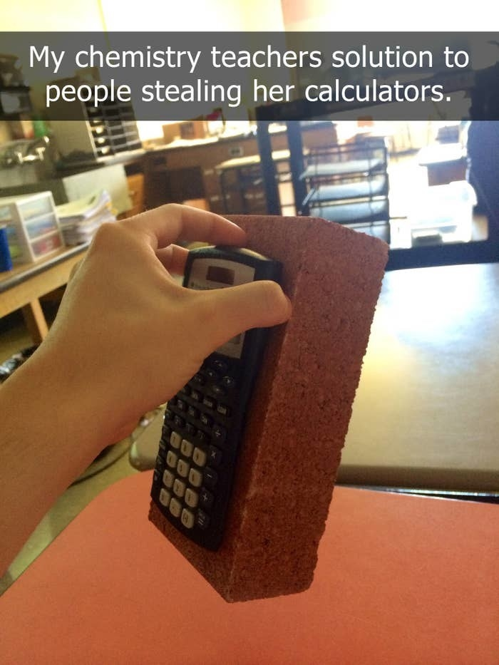 Picture of a calculator glued to a brick