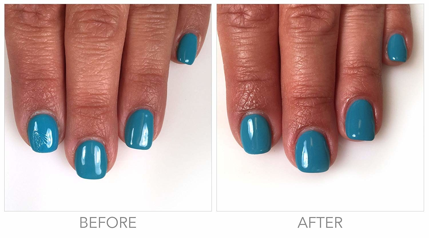 A before image of a smudged nail and an after image with the smudge buffed out