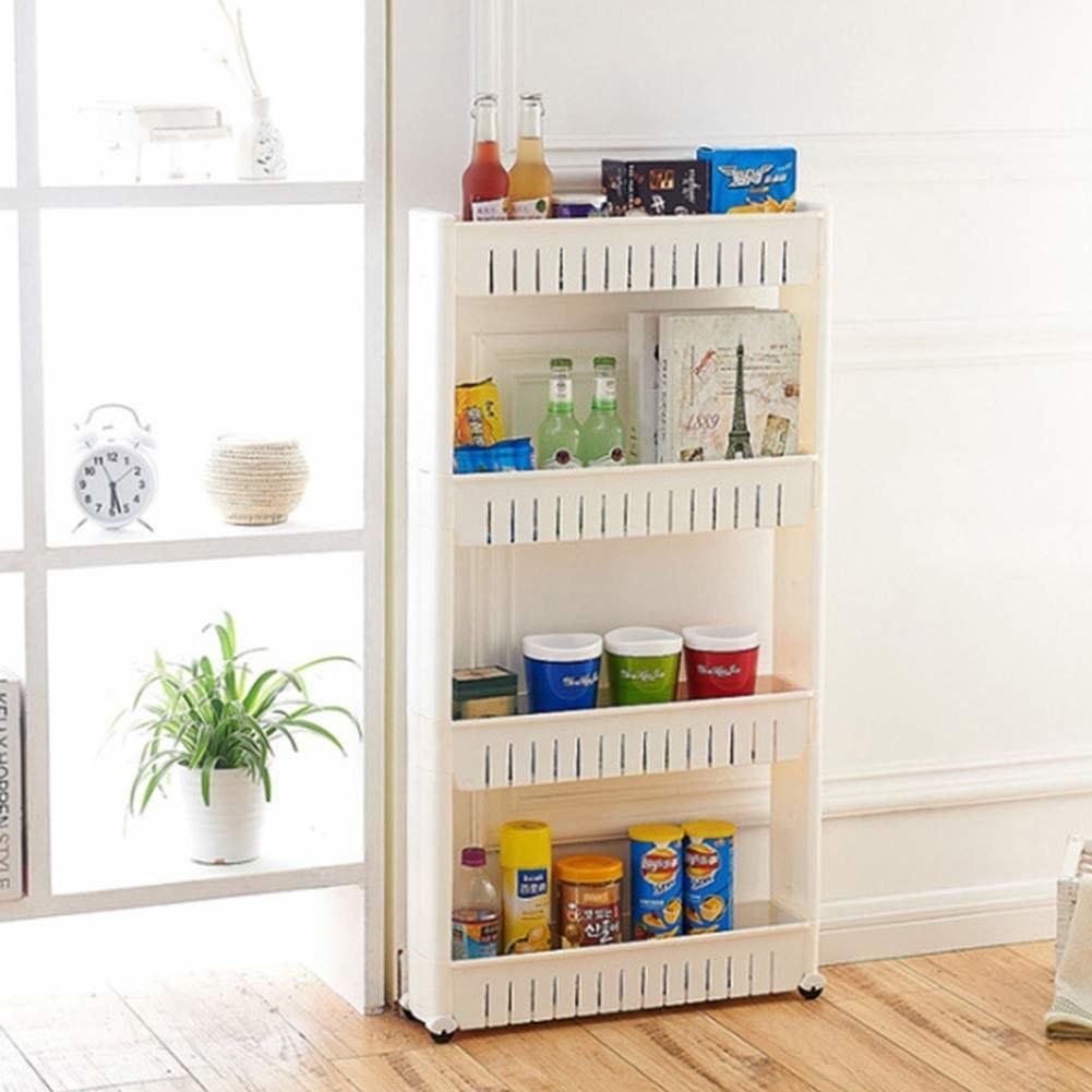 Snacks stored in slim shelving unit on wheels.