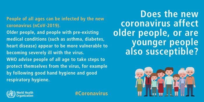 People of all ages can be infected by the new coronavirus. WHO advises people of all ages to take steps to protect themselves from the virus.