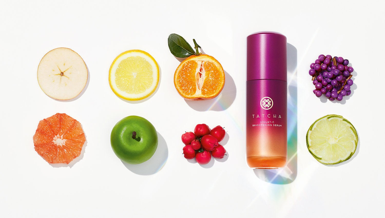 The serum, an apple, an orange, a grapefruit, lemon, and more