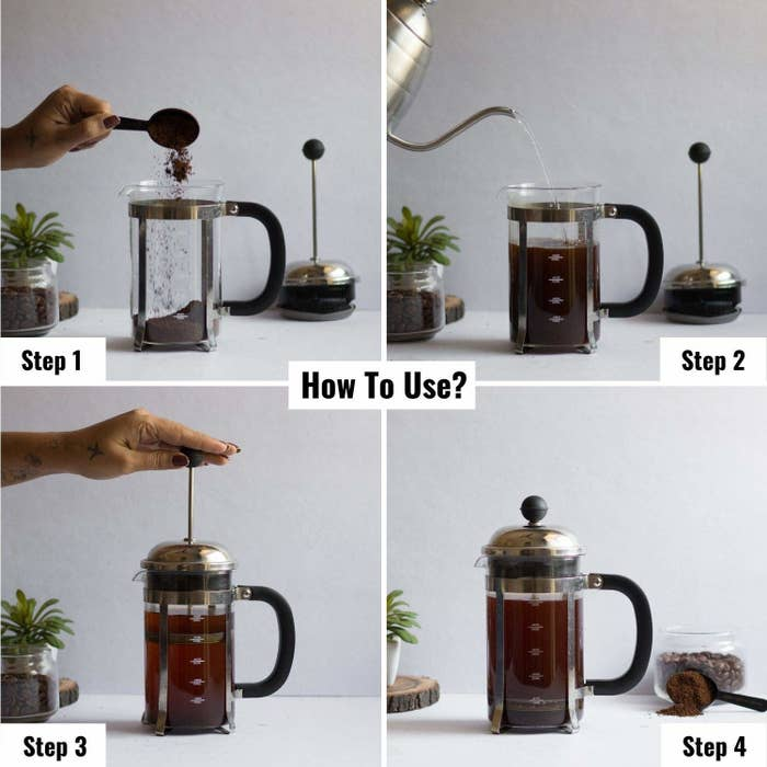A four picture collage showing how to use the French press.