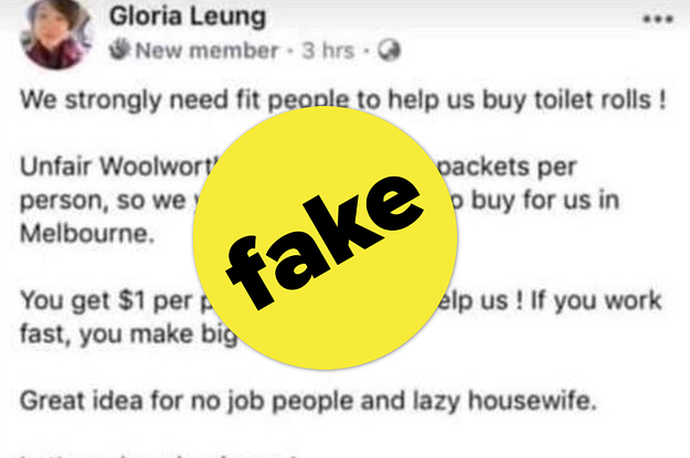 A Fake Facebook Account Pretending To Be A Chinese Woman Hoarding Toilet Paper Is Being Shared By Right Wing Pages