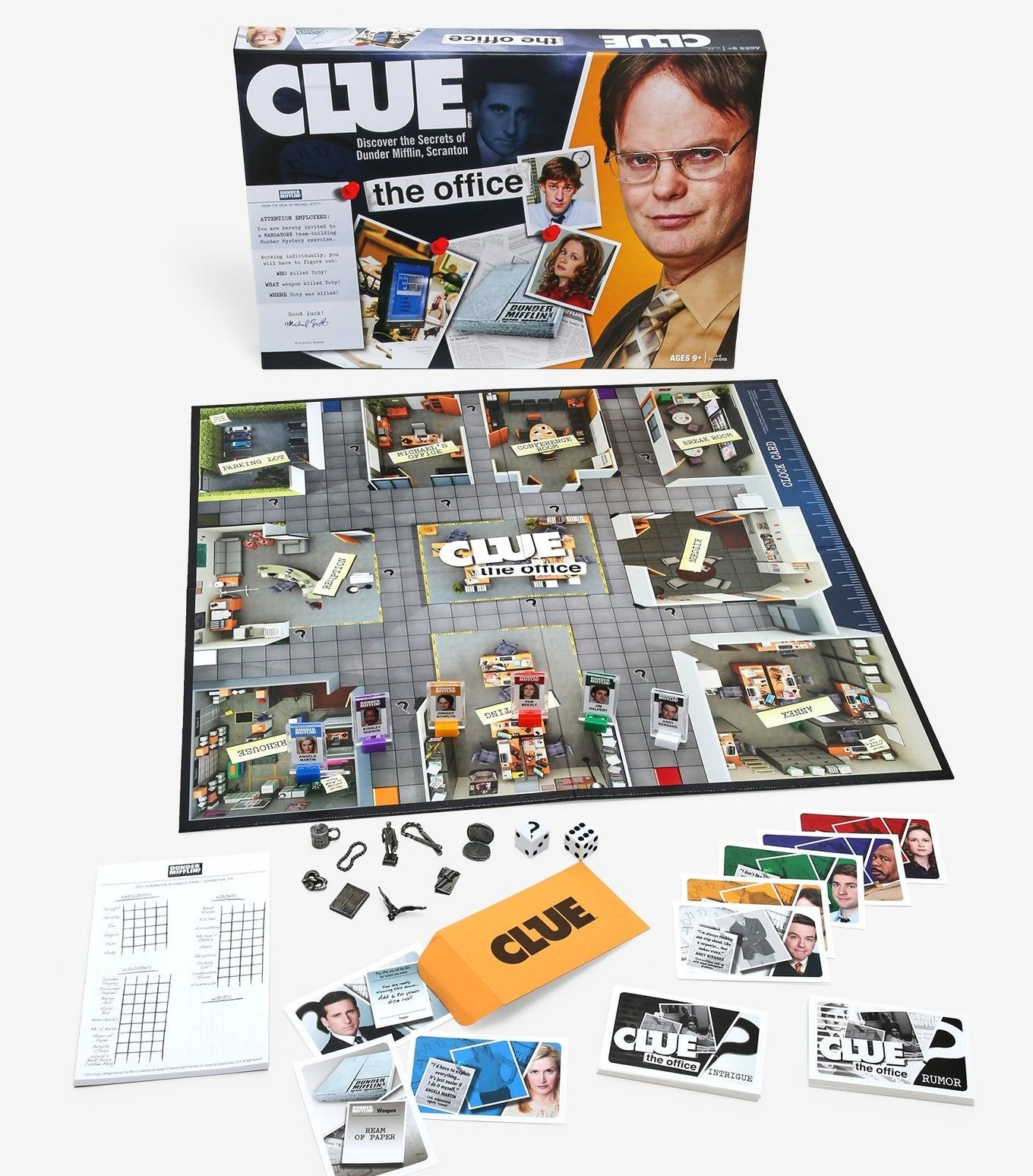 the Clue game with all of the pieces and board spread out