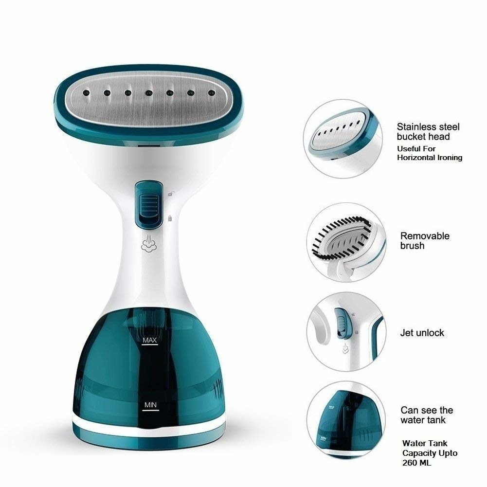 A blue handheld clothes steamer