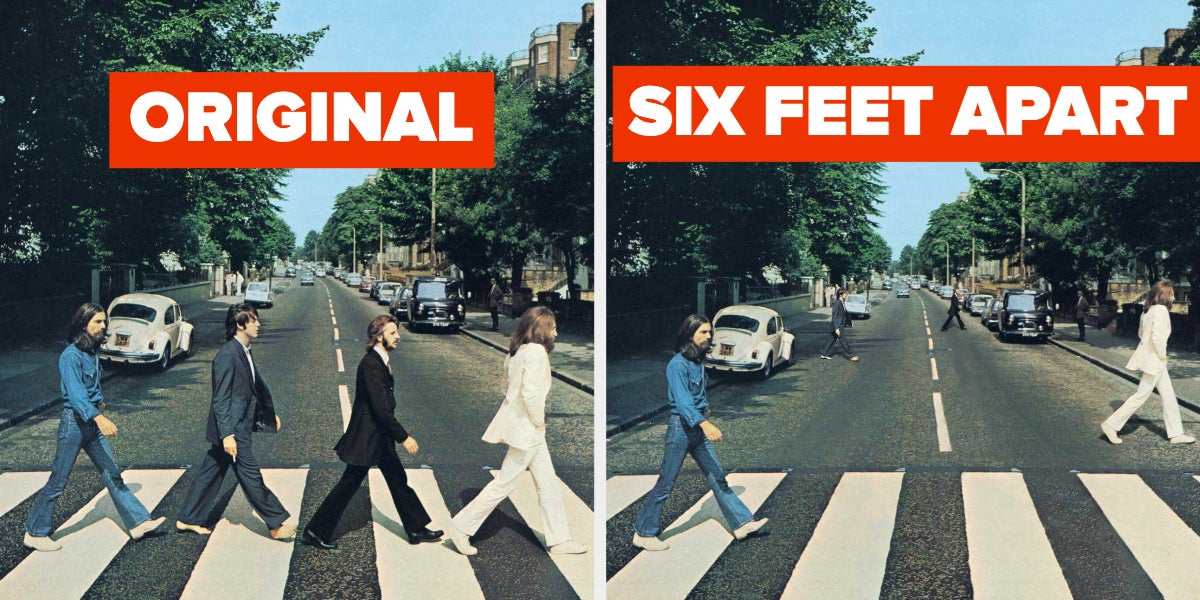These Artists Re-Created Famous Album Covers To Promote Social Distancing, And They're Funny As Hell