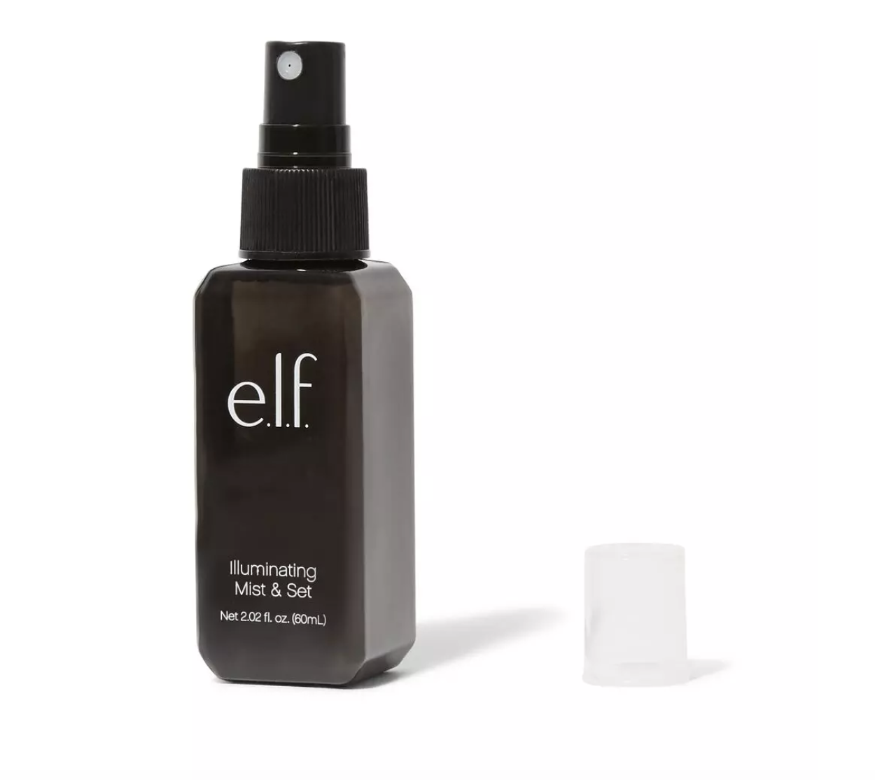 the setting spray in a black bottle