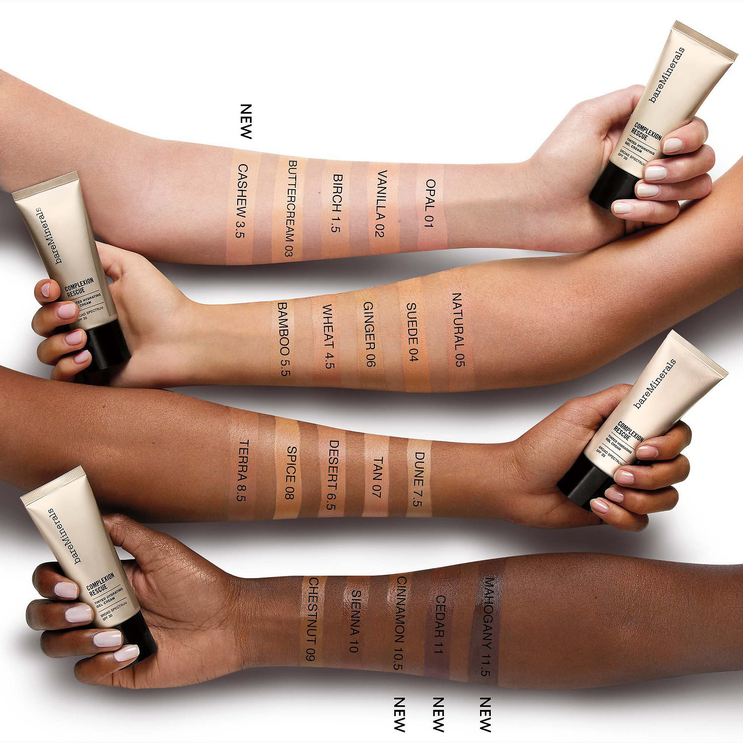 Four models of different skin tones with the sunscreen on their arm
