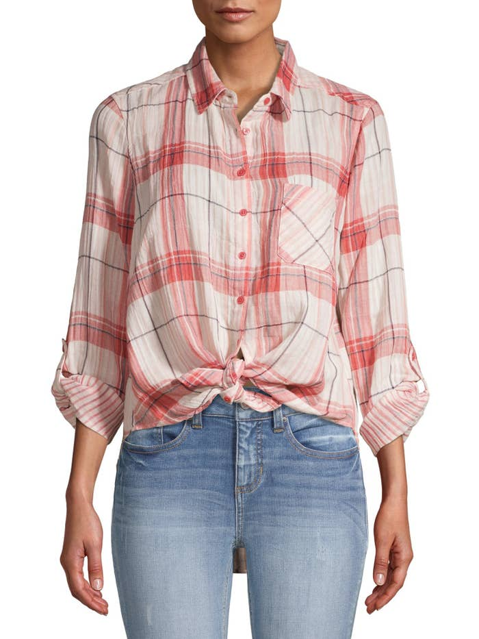 The red plaid top