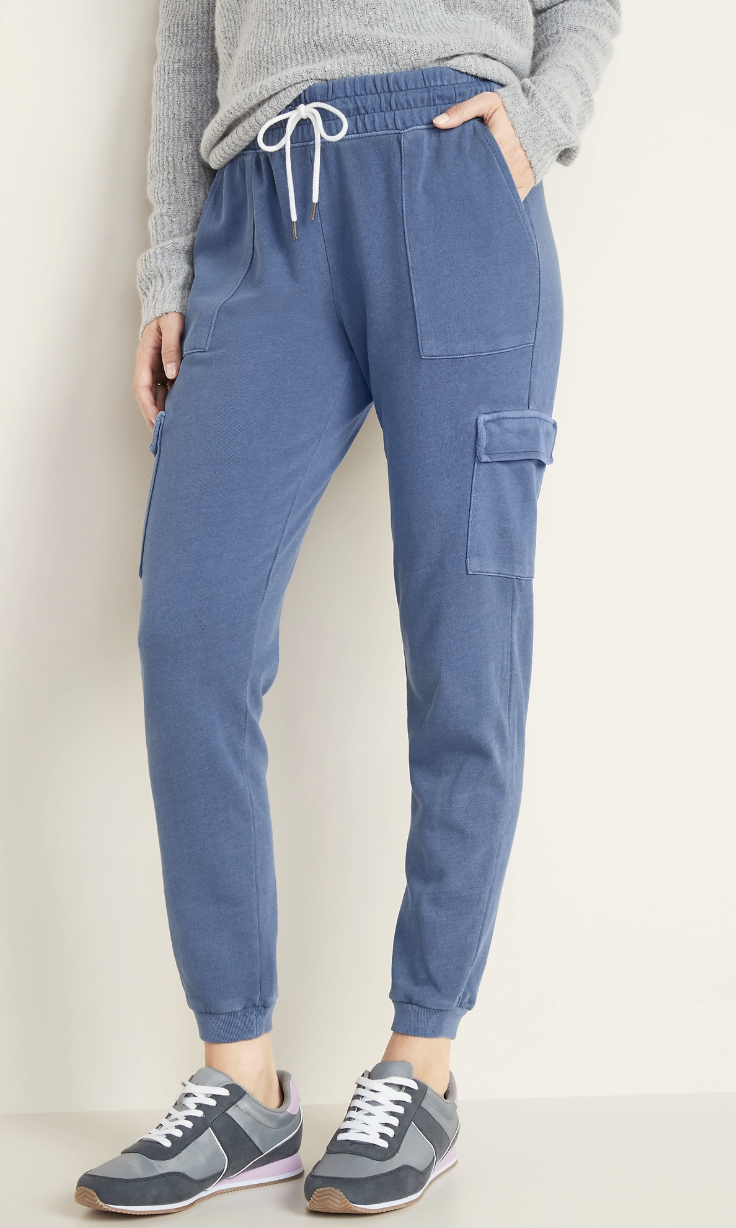 blue sweat pants with cargo pockets