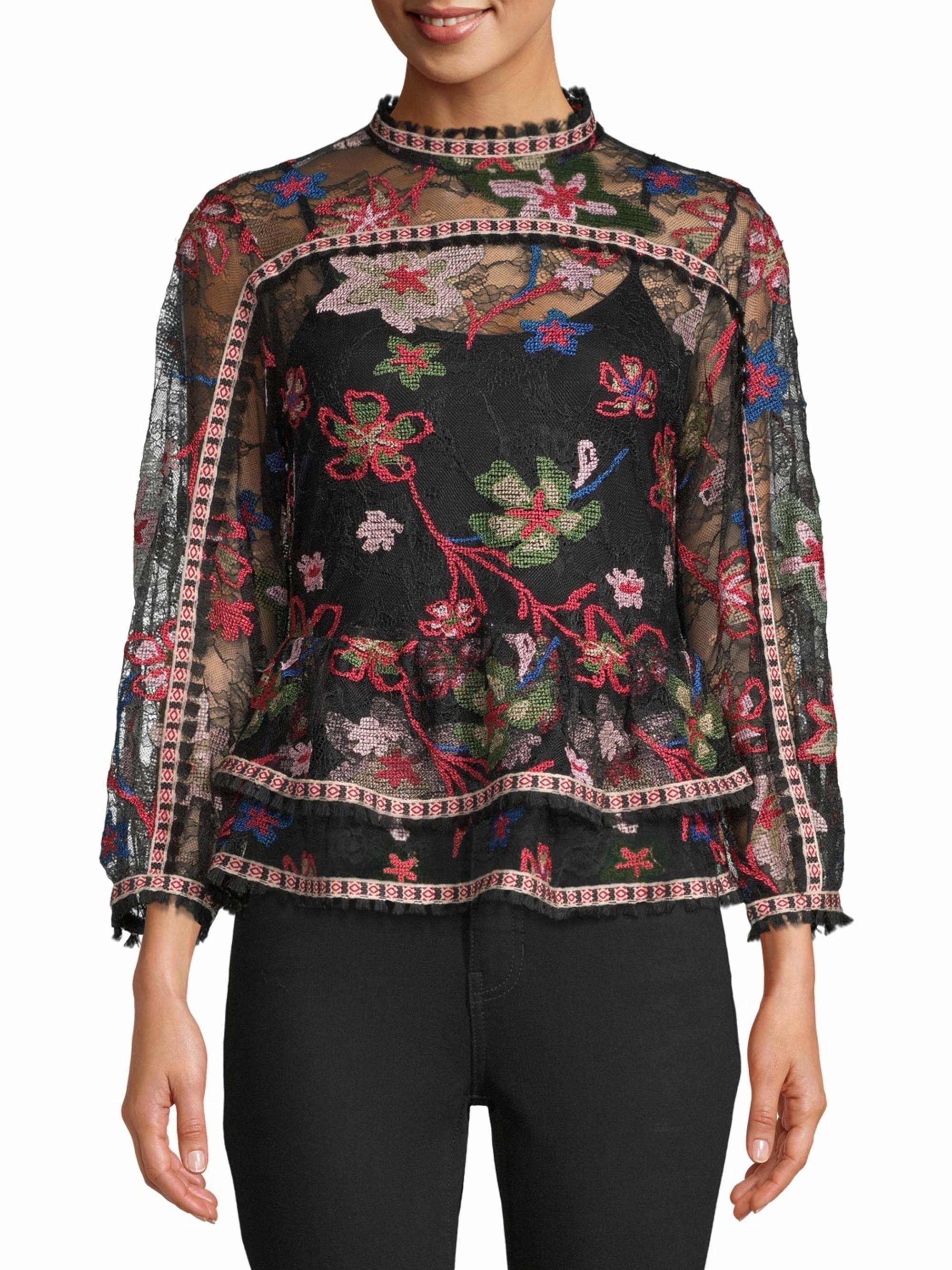 The embroidered semi sheer black and red top