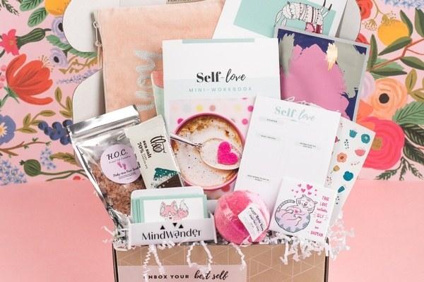 self-love cards, bath salts, tea, and activity cards