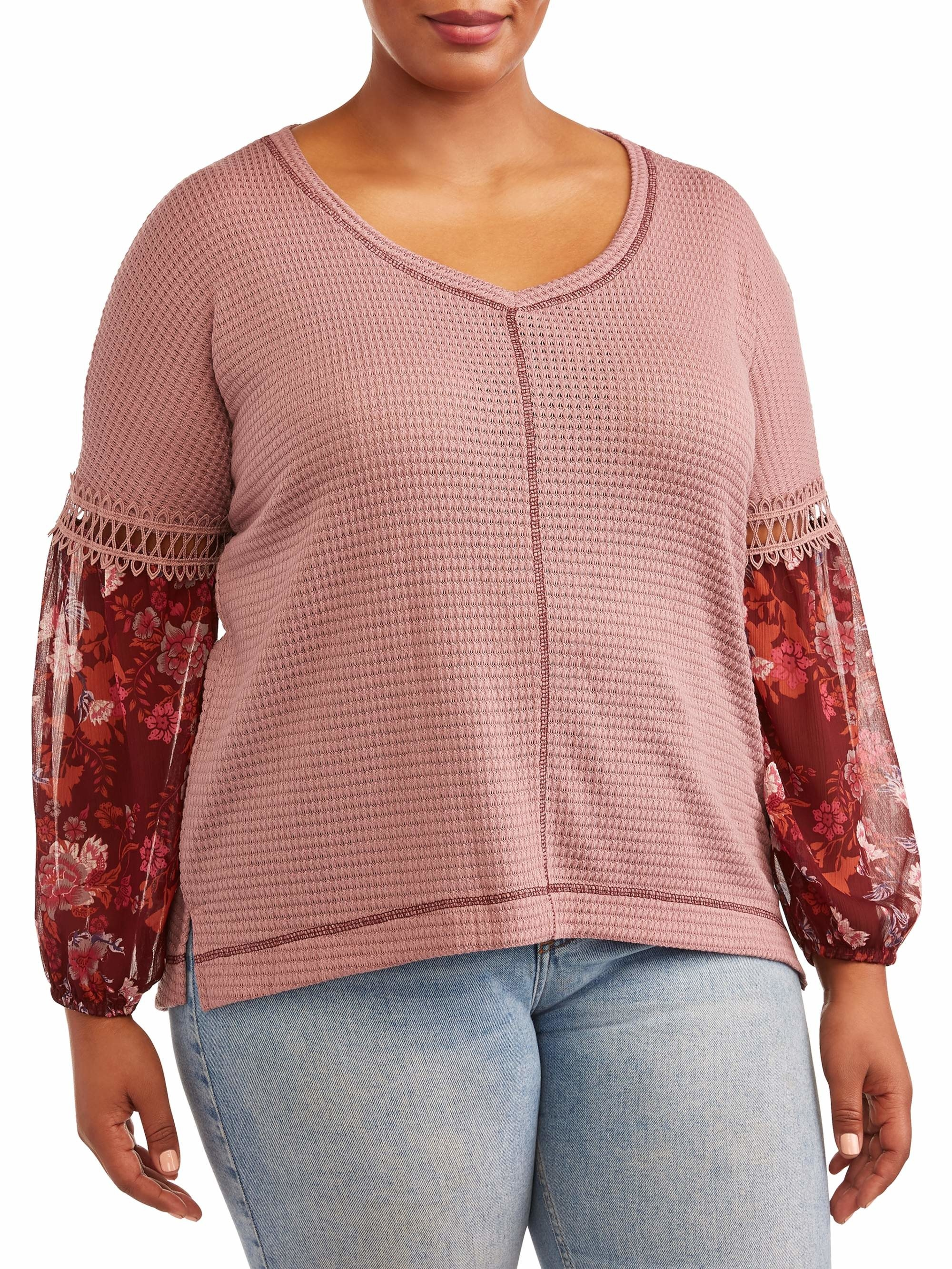 The pink top with red semi sheer floral sleeves