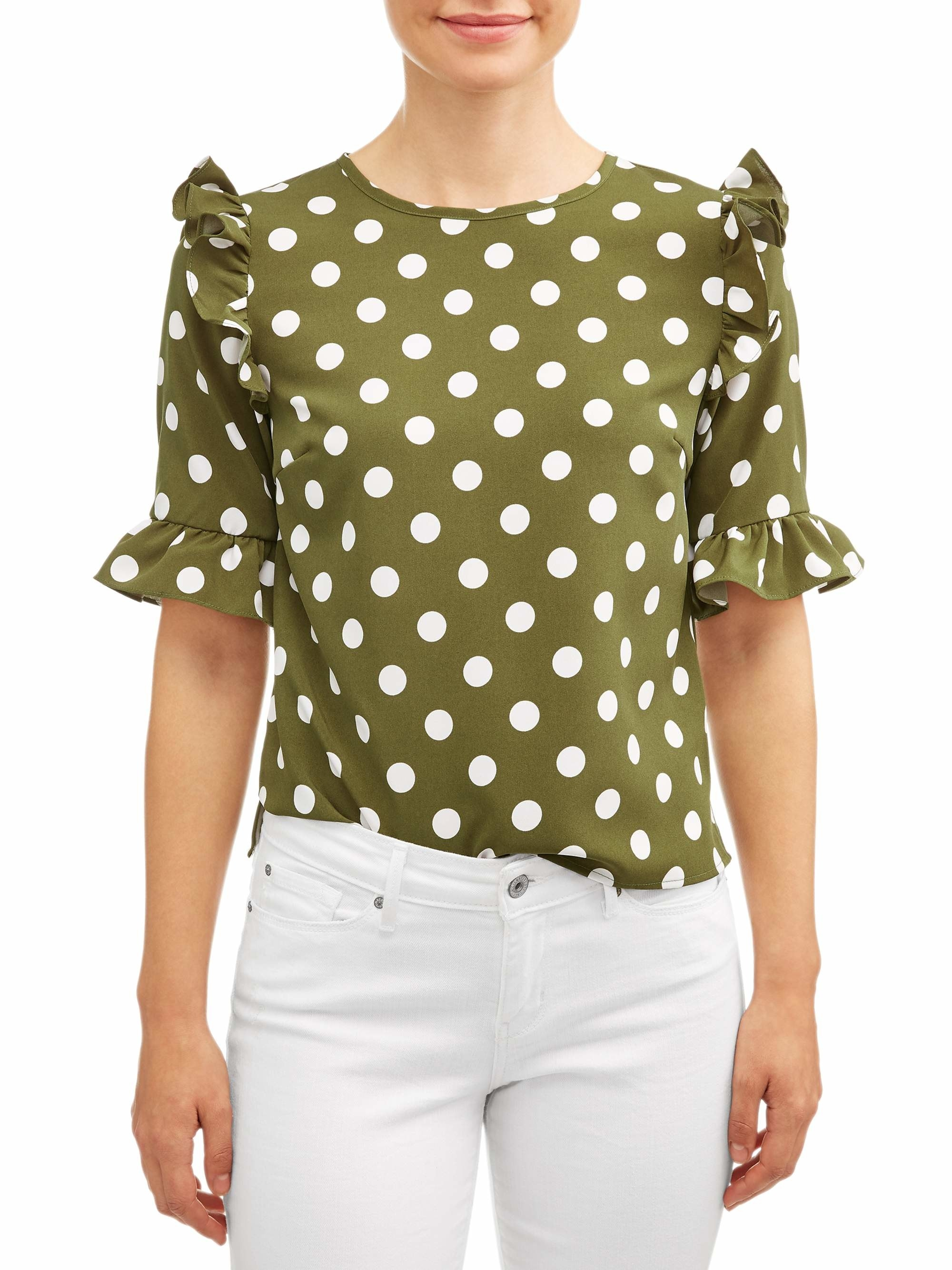 The green and white polka dot top with ruffled short sleeves