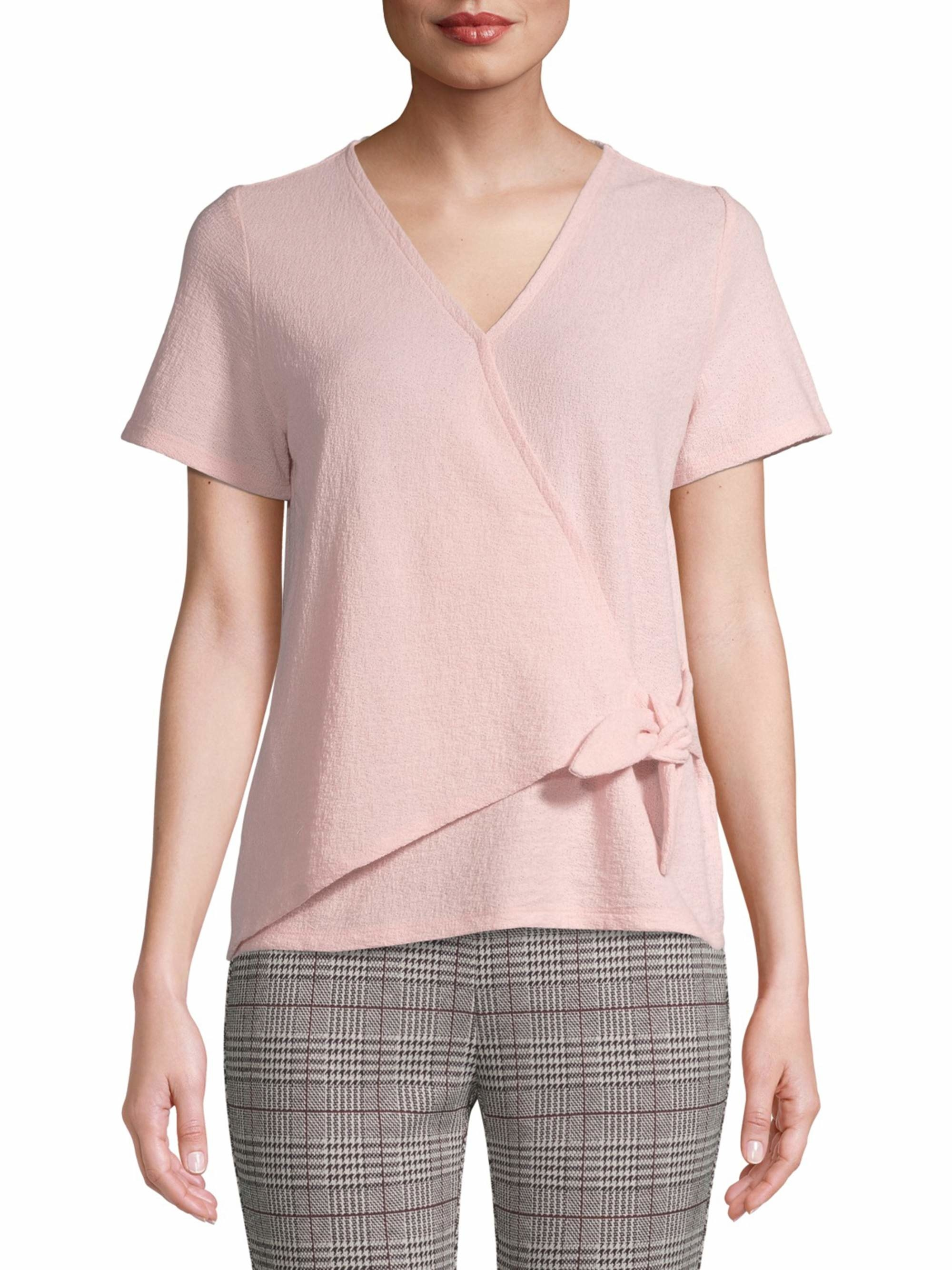 The front tie pink top