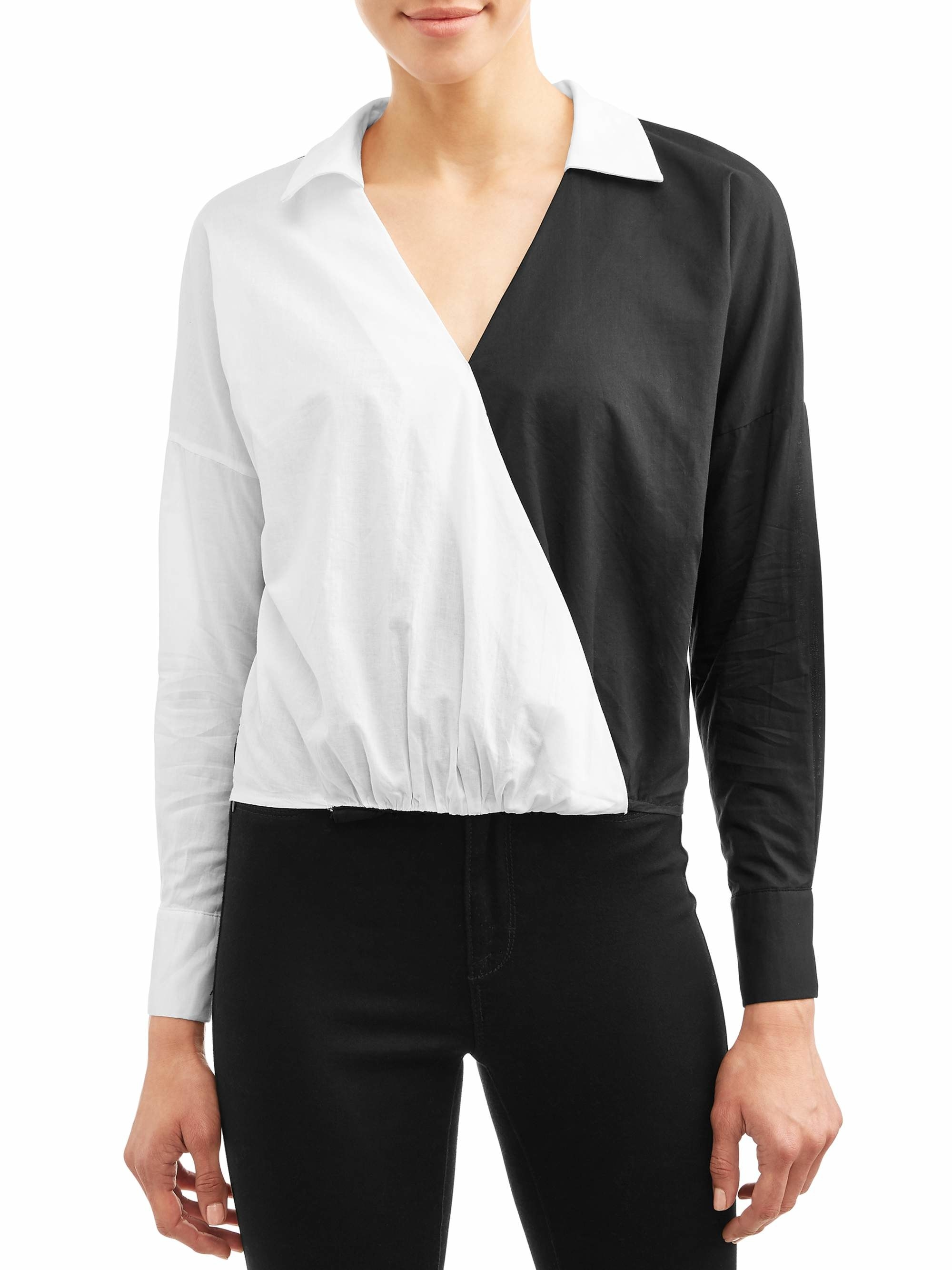 The contrasting black and white long sleeve top