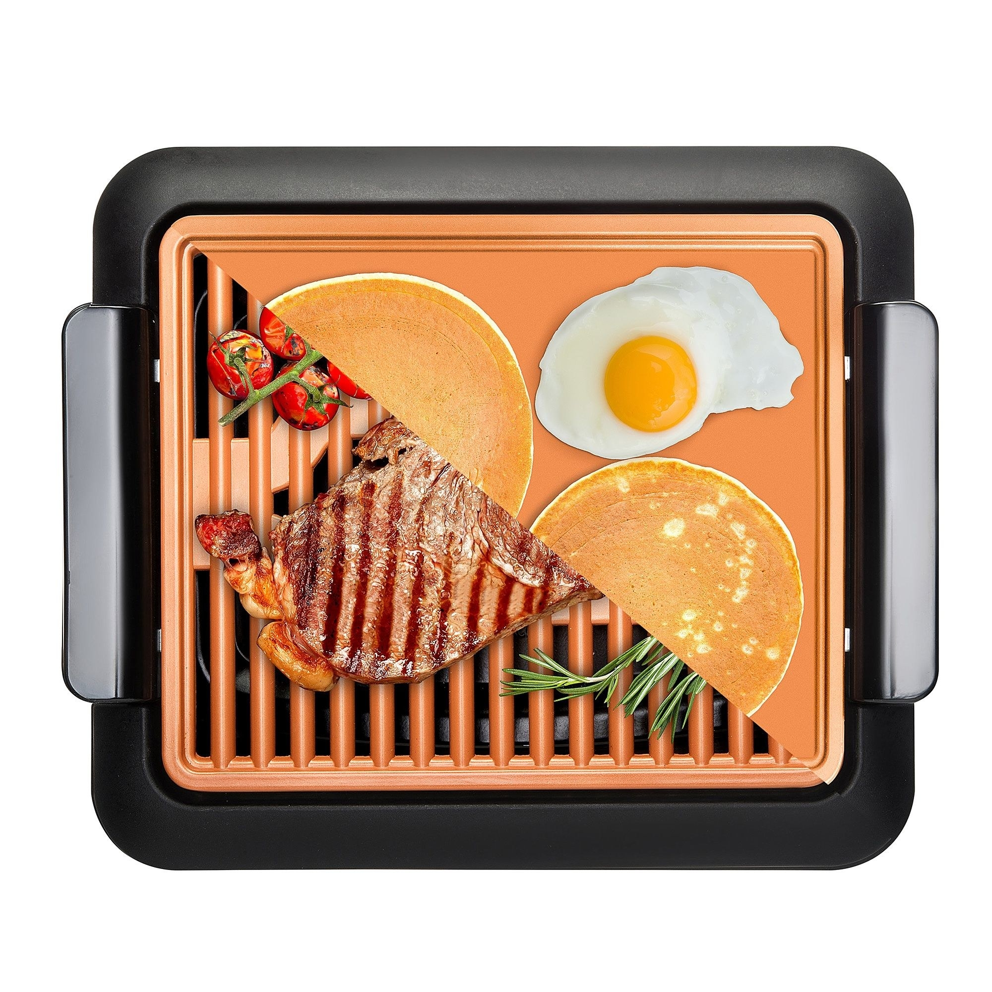 an electric grill with an orange grill pan in the middle