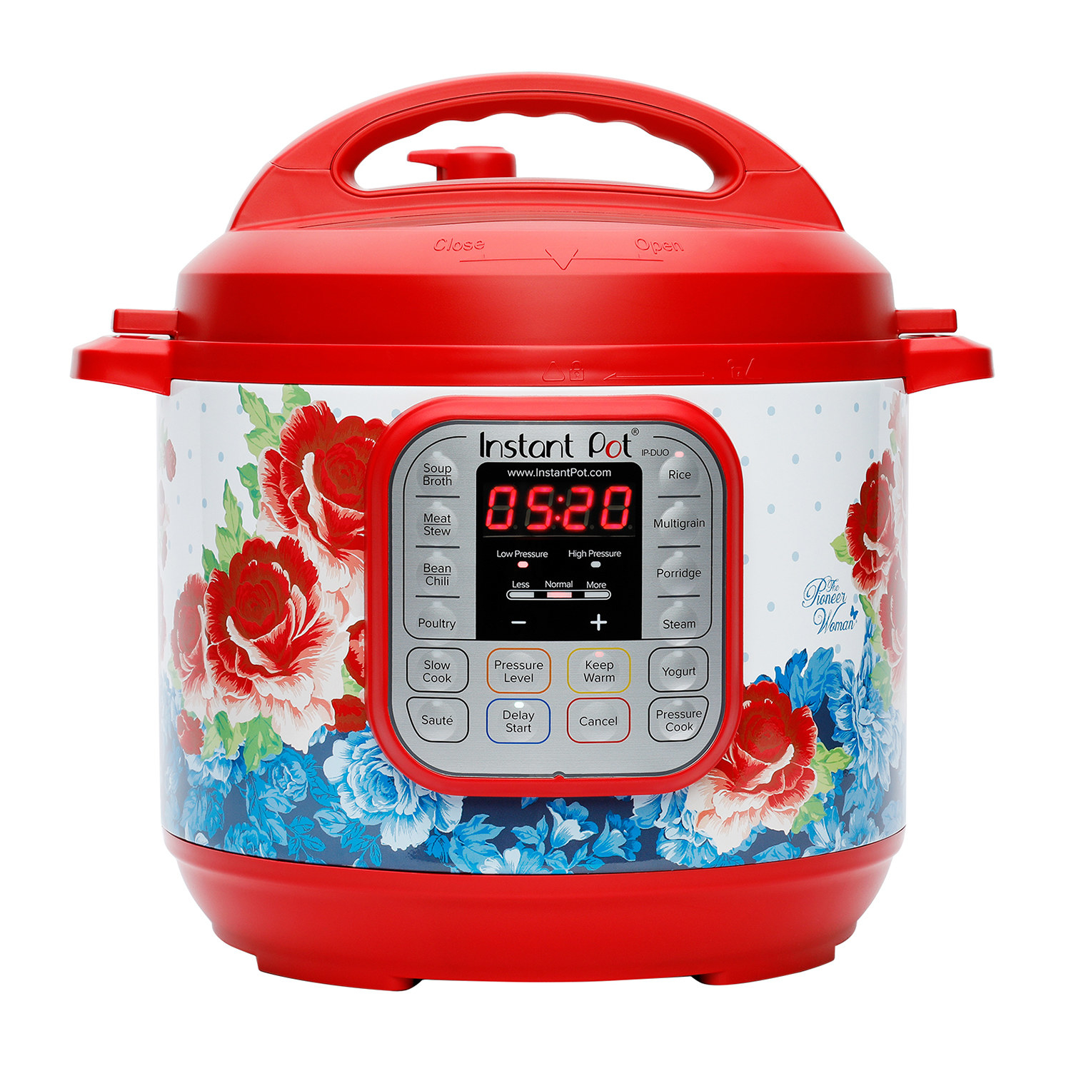 a red instant pot with a blue and red floral design on it