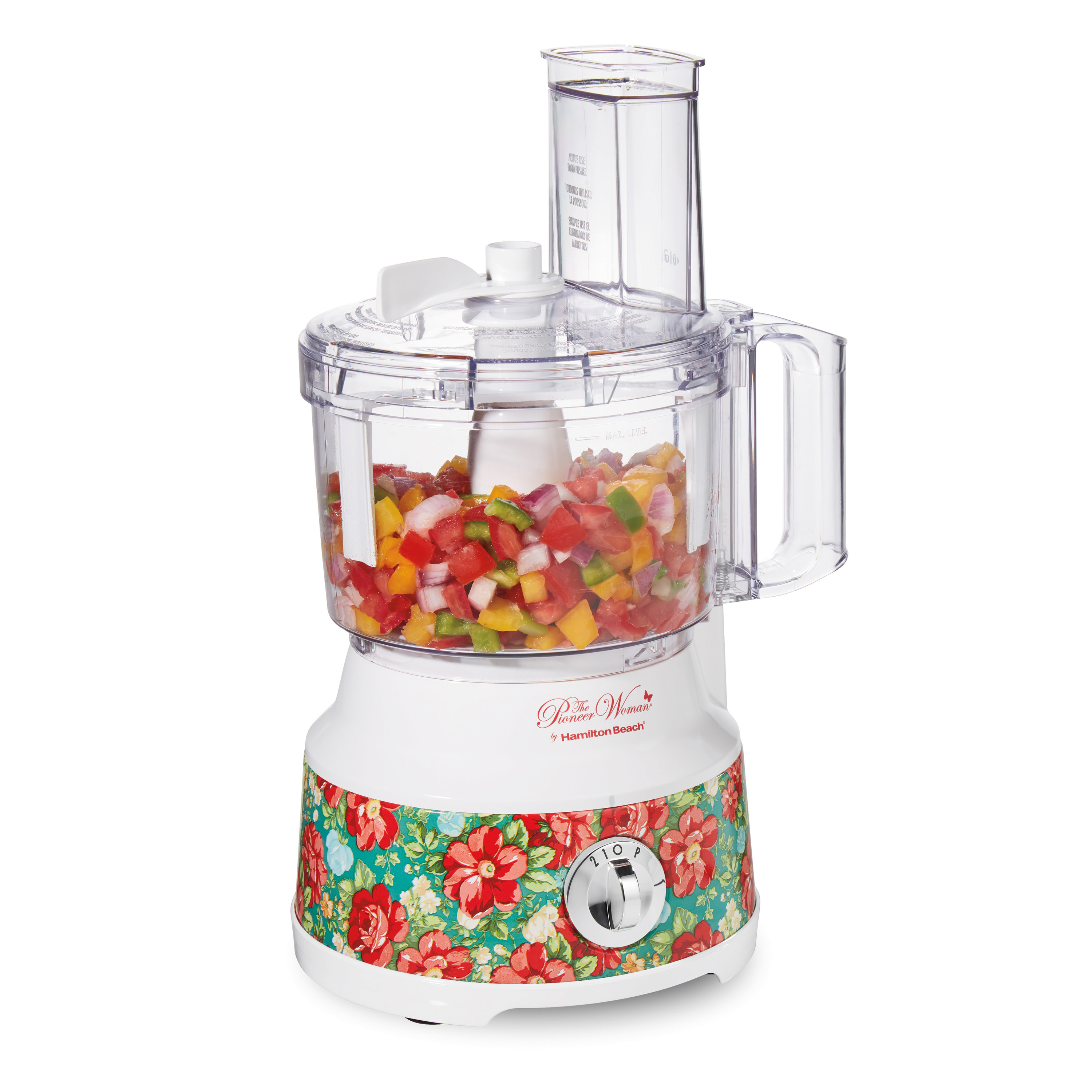 a white food processor with a decorative red floral pattern on the bottom