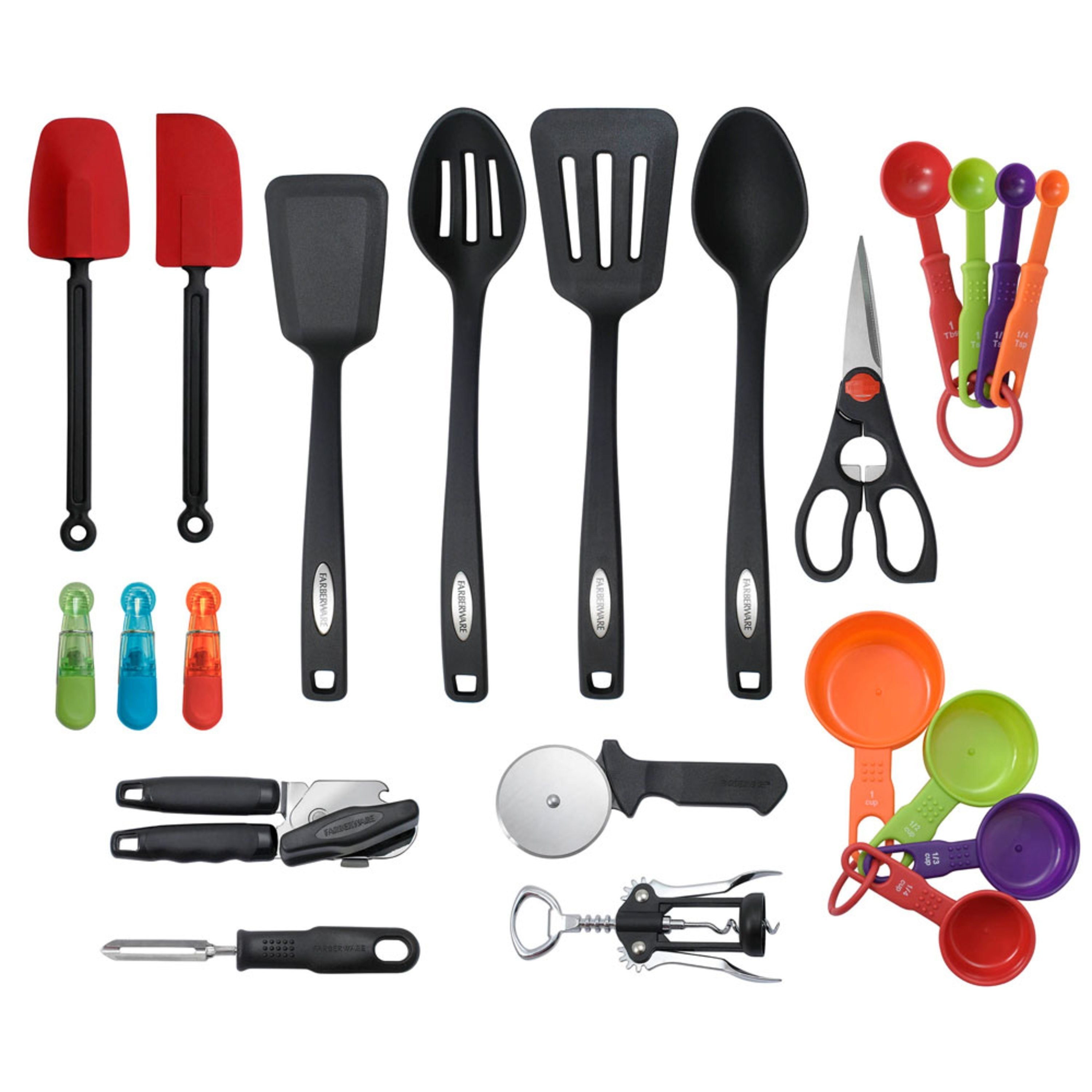 kitchen tools in which the majority are black while the measuring tools are orange green purple or red