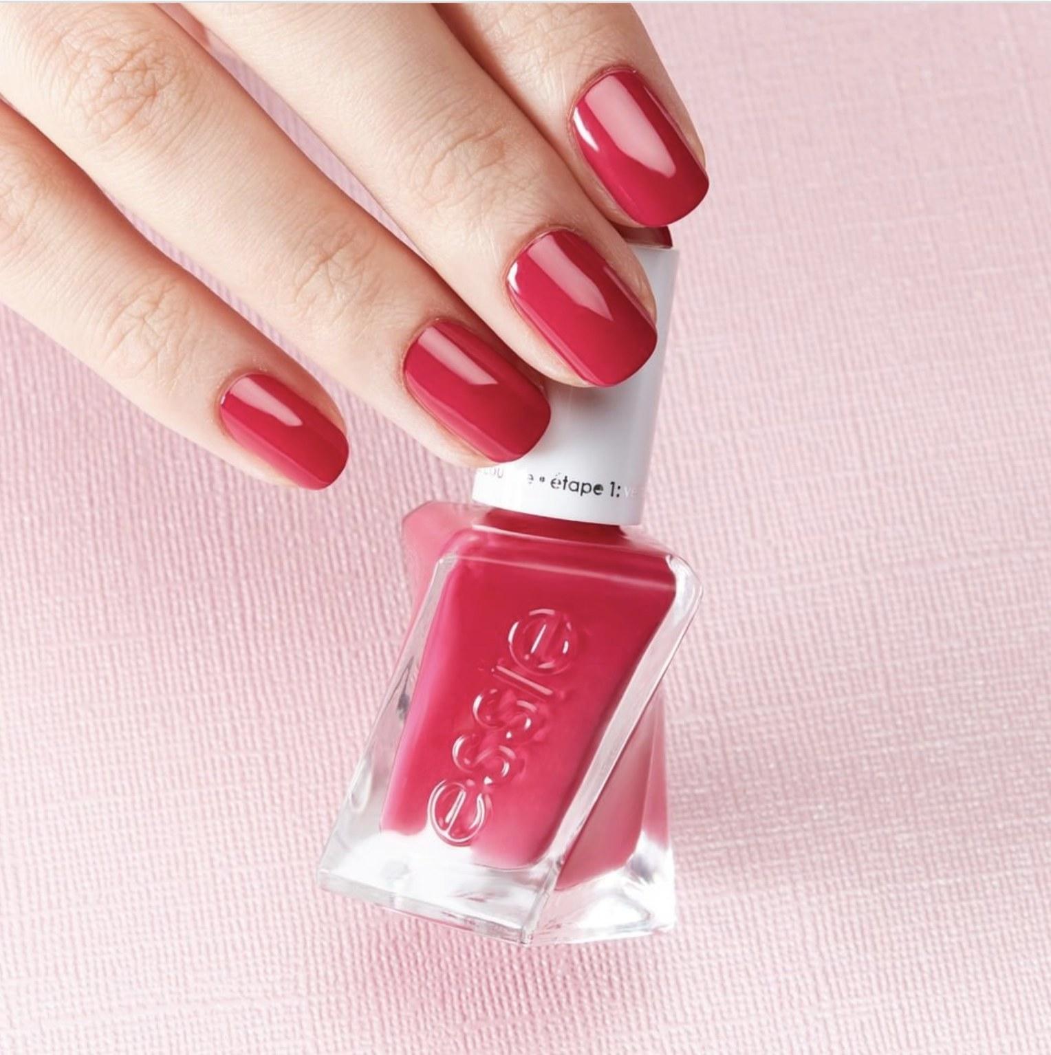 The pink nail polish