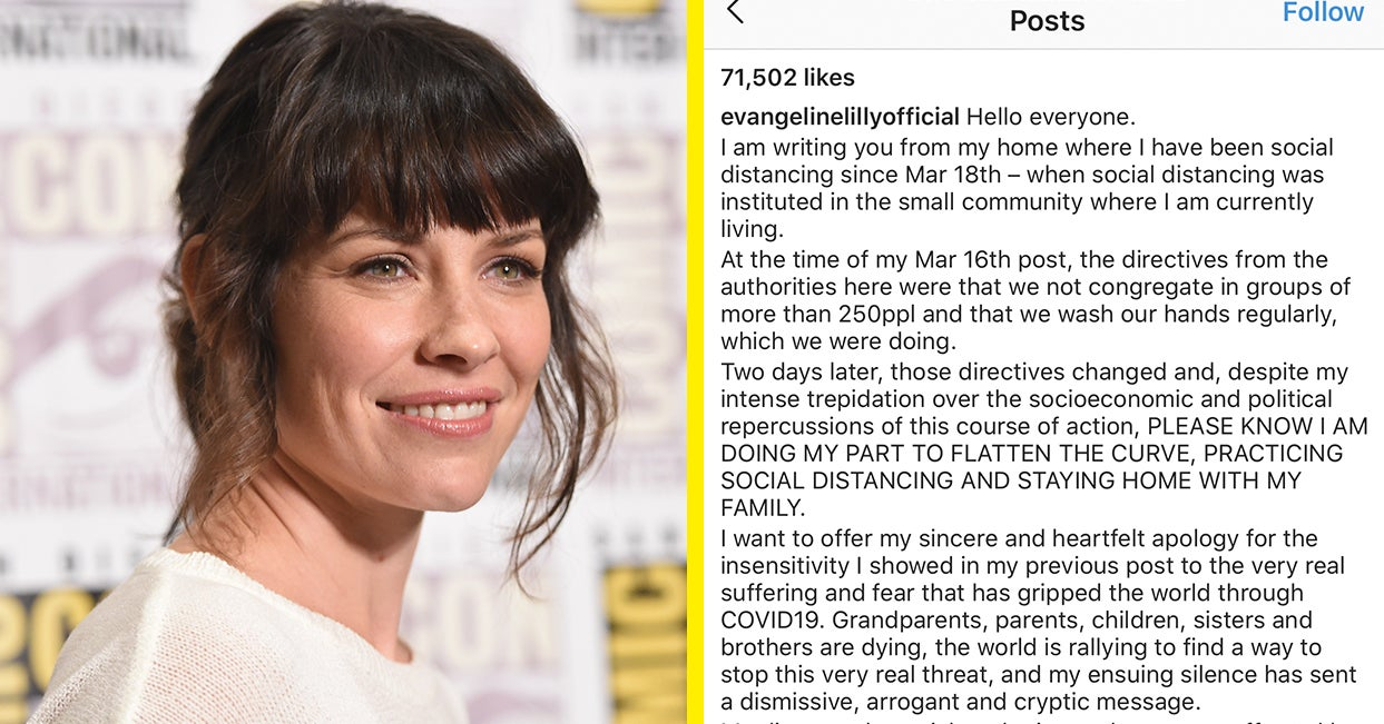 """Evangeline Lilly Apologised For Refusing To Social Distance And Calling Coronavirus Worries """"Pandemonium And Insanity"""""""