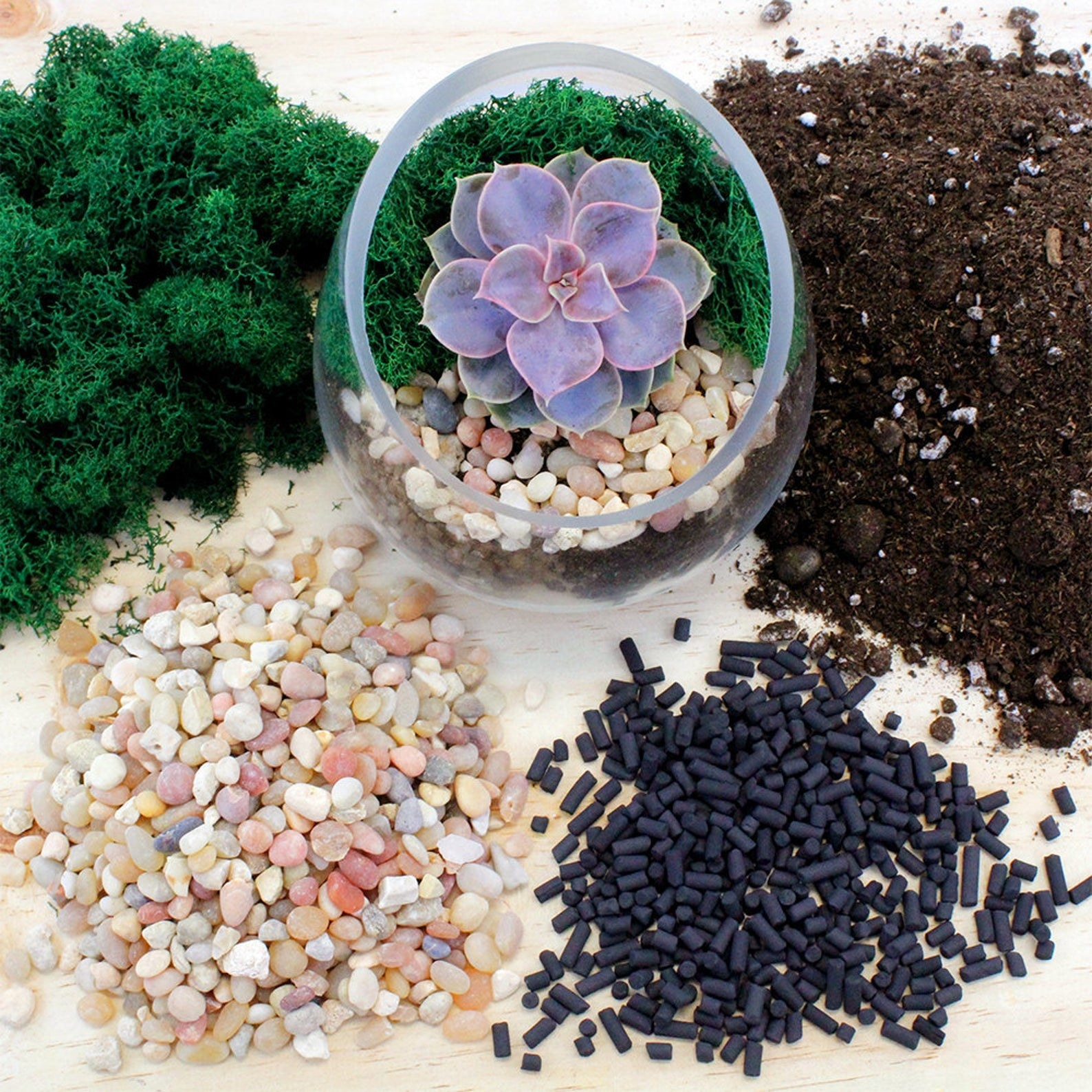 The contents laid out, including moss, soil, light rocks, and carbon