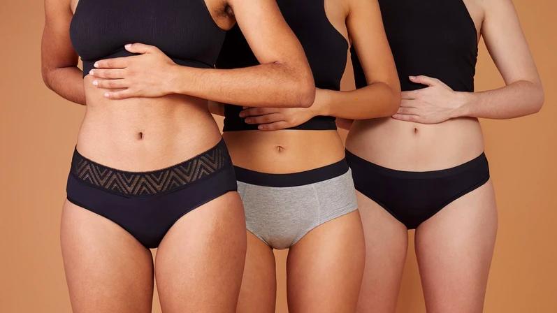 models wearing various types of underwear