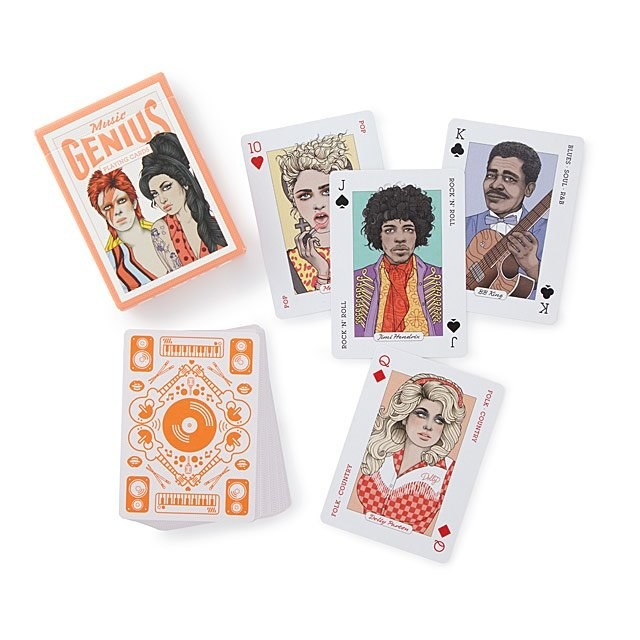 A music-themed deck of cards with artists like Dolly Parton, Prince, Madonna, and BB King