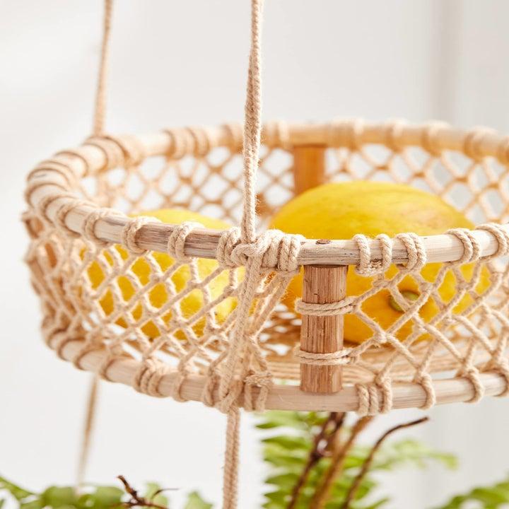 Closeup showing the weaving of baskets