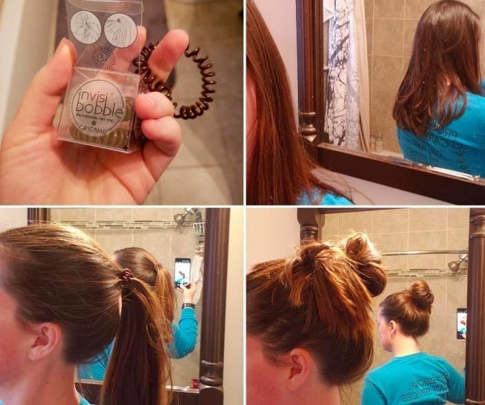a reviewer using the hair ties to hold up a pony and a bun