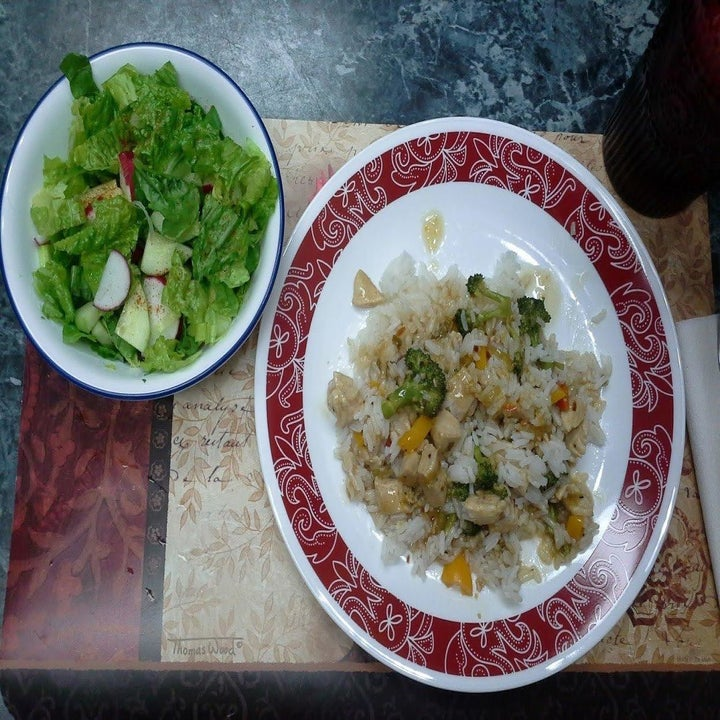 Reviewer photo of meal using cooked rice from microwavable rice cooker