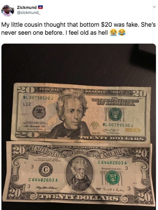 tweet reading my little cousin thought that bottom 20 was fake with a picture of two different 20 dollar bills