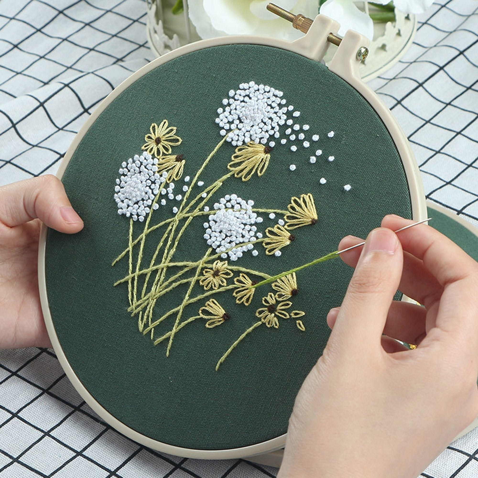 Model using using embroidery kit