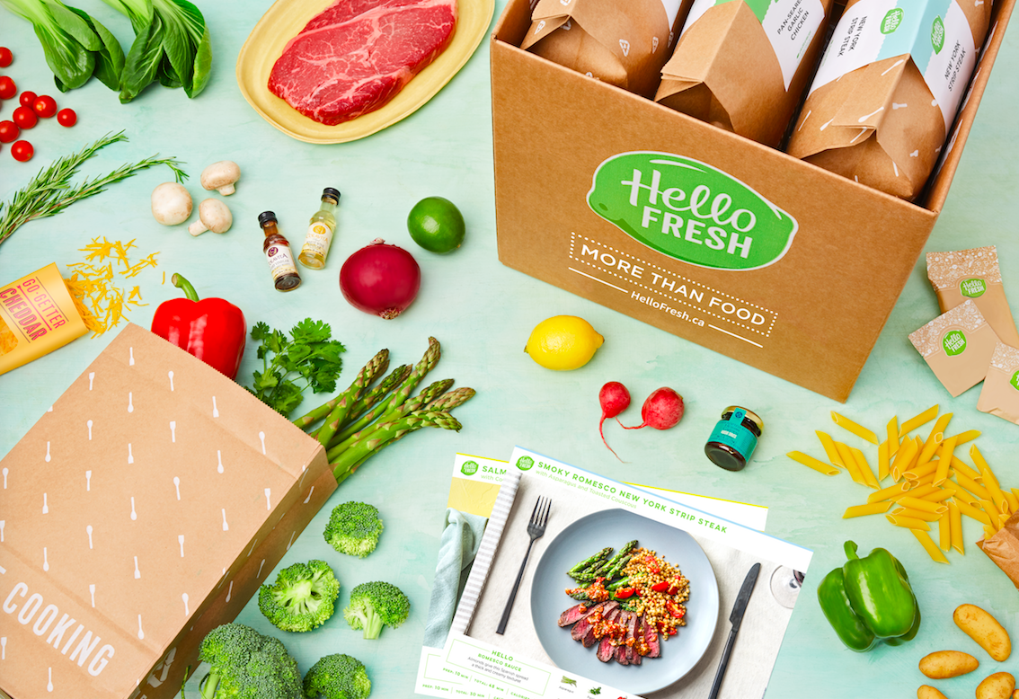 A box filled with groceries with fresh food surrounding it