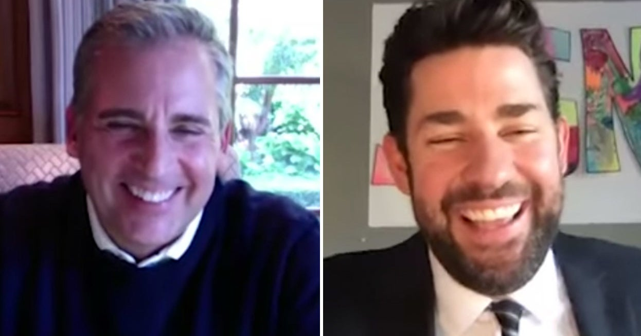 """John Krasinski And Steve Carell Virtually Reunited To Celebrate """"The Office,"""" And I Can't Stop Smiling"""