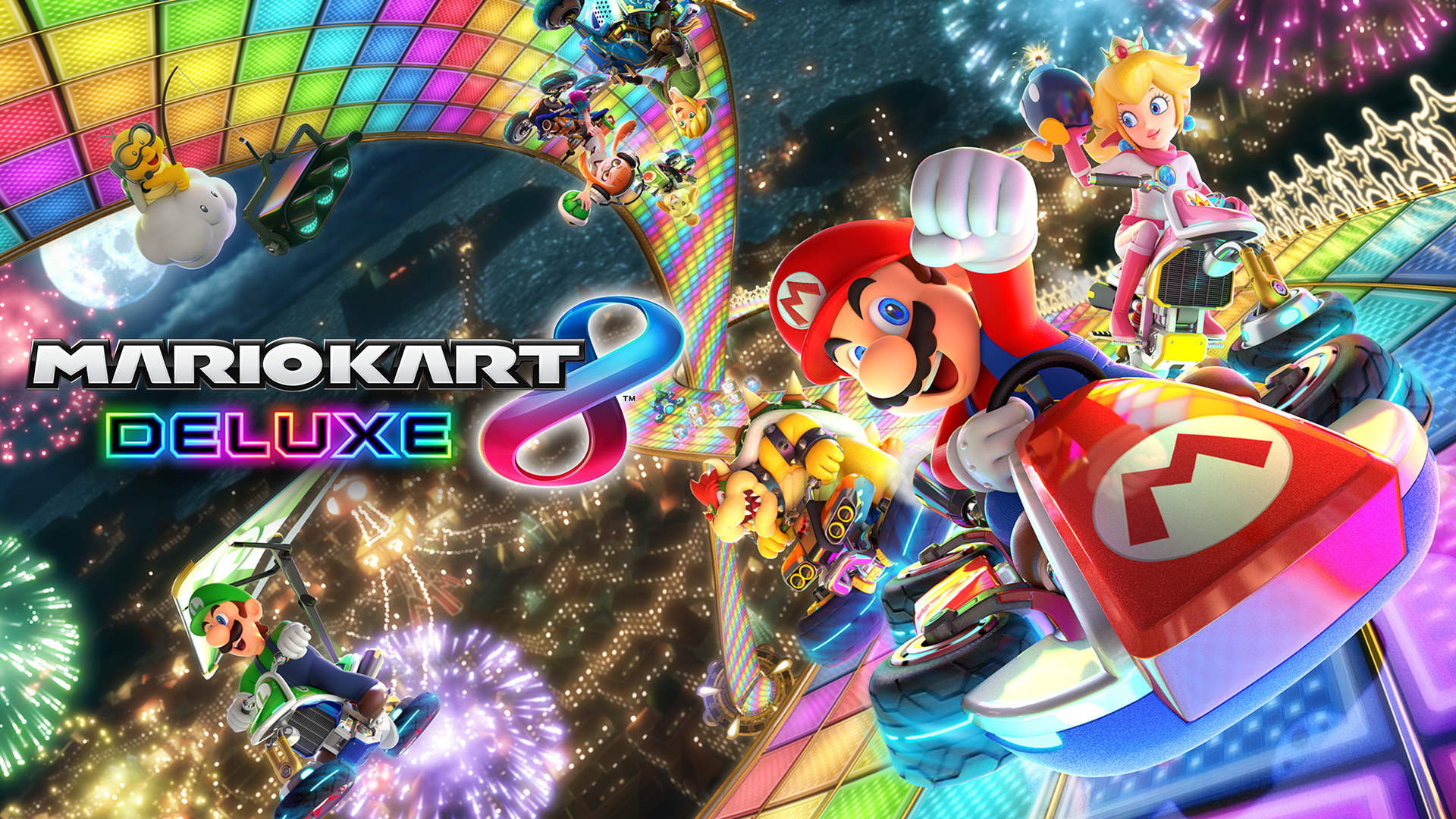 a promotional screenshot of he mario kart game featuring mario, luigi, and princess peach in race cars