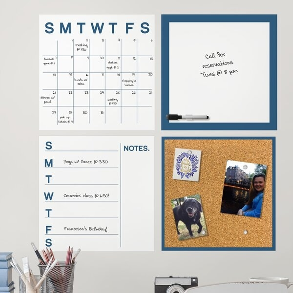 a corkboard, calendar, whiteboard, and weekly note pad hung on the wall