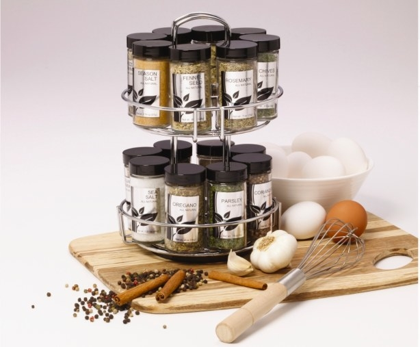 An image of a 16-jar revolving spice rack