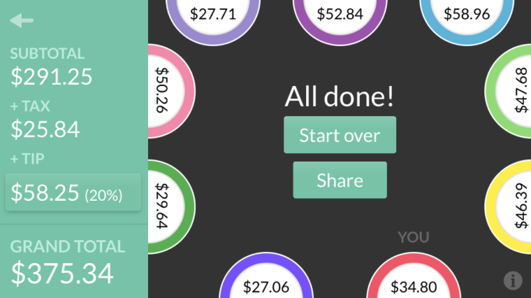 screenshot of the app, showing nine different plates and different totals for each one with a grand total of $375.34