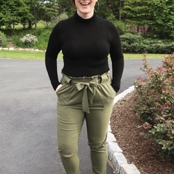 Reviewer wears same trousers in an olive green color with leopard flats