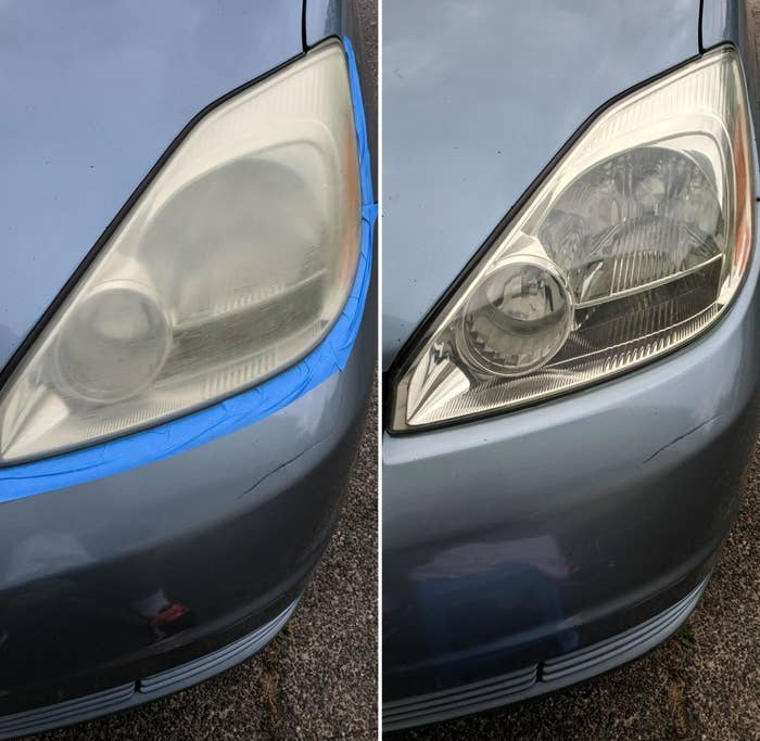 a before and after shot displaying a newly restored headlight
